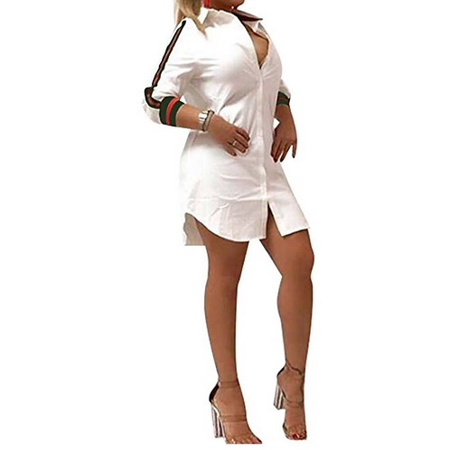 White Button Down Gucci Inspired Shirt Dress