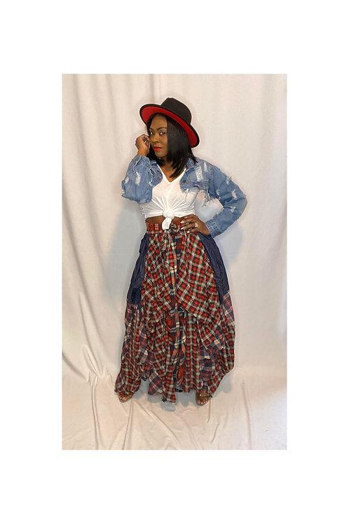 Plaid/Polka Dot Denim Maxi Skirt