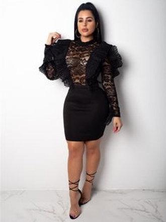 Lace Ruffle Mini Dress