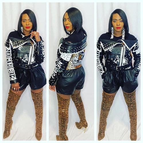 Leopard Studded Leather Jacket