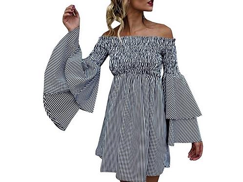 Off Shoulder Stripe Ruched Shirt/Dress