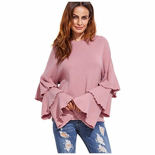 Knitted Layered Bell Sleeve Blouse