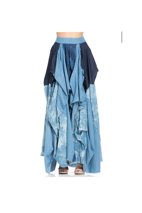 Faded wash denim flow maxi skirt