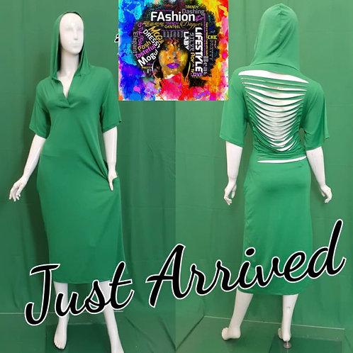 Shredded Back Hooded Dress