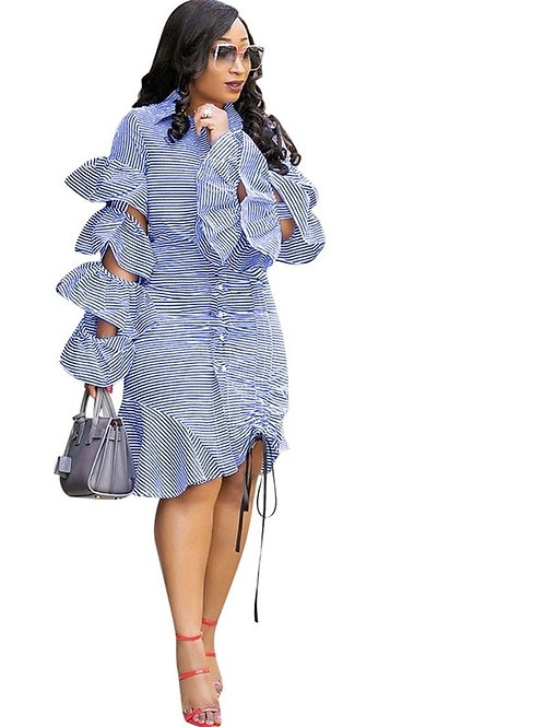 Ruffle Sleeve stripe drawstrings Dress