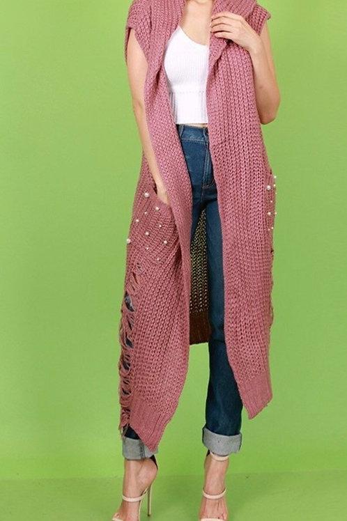 Pearl Knit Hoodie Vest