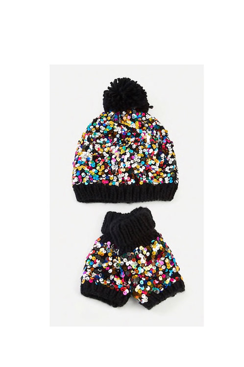 Sequins Hat and Mitten Set