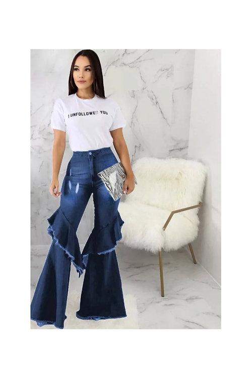 Ruffle Bell bottom Jeans