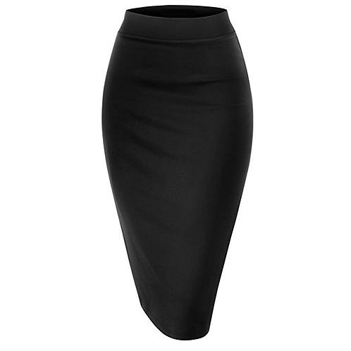 Scuba Elastic Waist Band Pencil Skirt