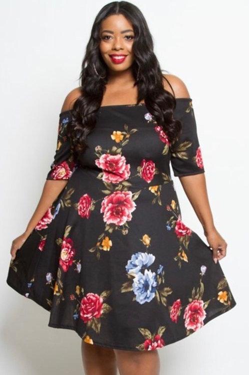 Off Shoulder Florsl Dress