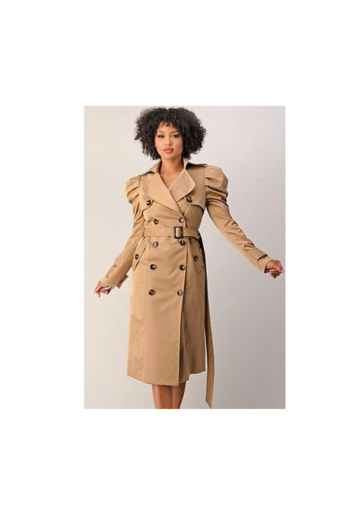 Khaki Puff Shoulder Coat