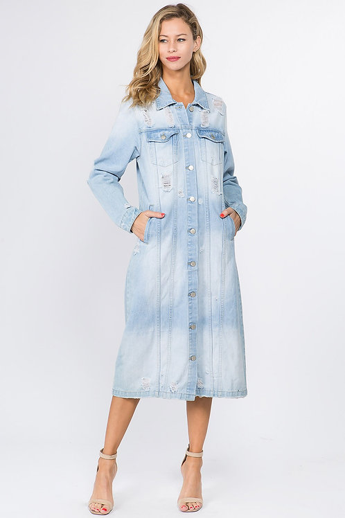 Long Distressed Denim Jacket/Dress