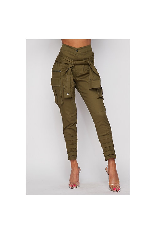 Olive Wrap Cargo Jeans