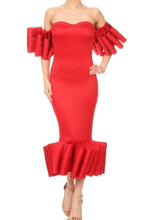 Ruffle Fold Off Shoulder Dress