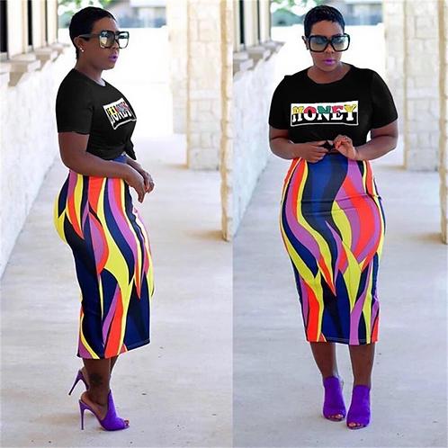 Colorful Print Pencil Skirt Set