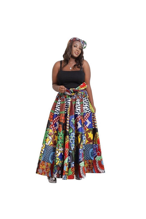 Printed African Maxi Skirt w/headwrap