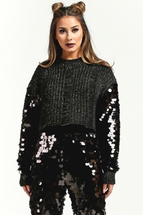 Cropped Sequins Sleeve Sweater