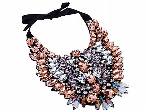 Large Ribbon Tie Glass Crystal Statement Necklace