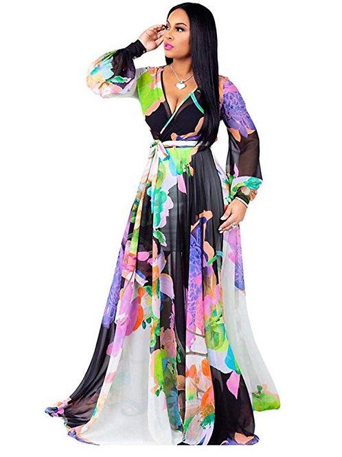 Boho floral Print Maxi Dress