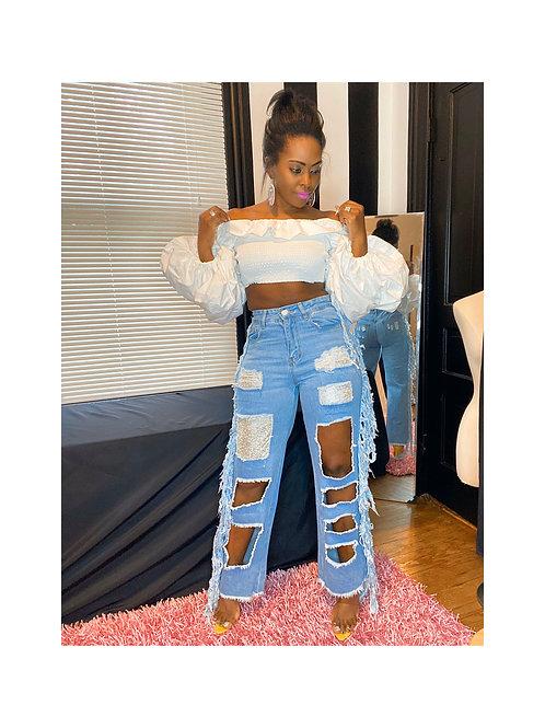 Sequins Patch Fringe Distressed Jeans