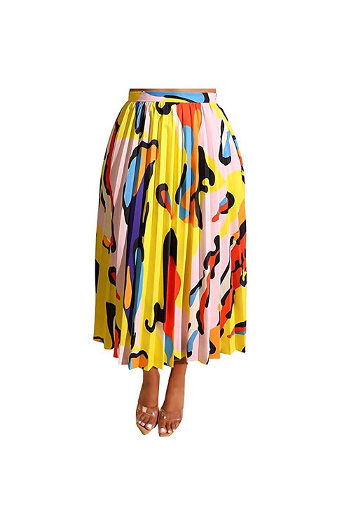 Graffiti Pleated Skirt (yellow)