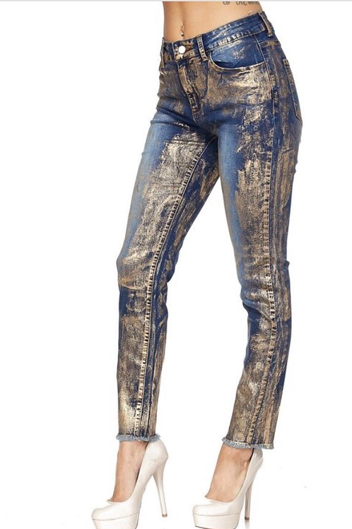Gold Airbrushed Denim Jeans