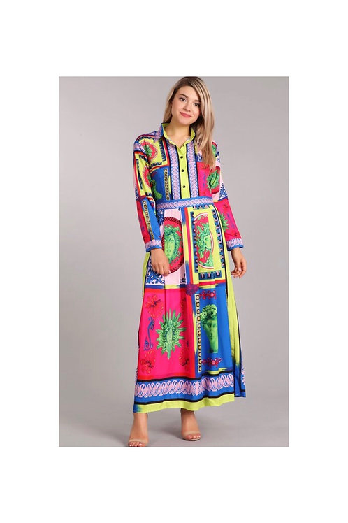 Neon Printed Maxi Collared Dress