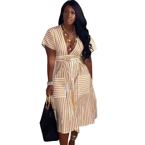 Striped Deep V Midi Dress