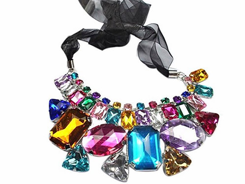 Gemstone Ribbon Statement Bib Necklace