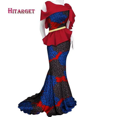 Ruffle Peplum African Belted Dress