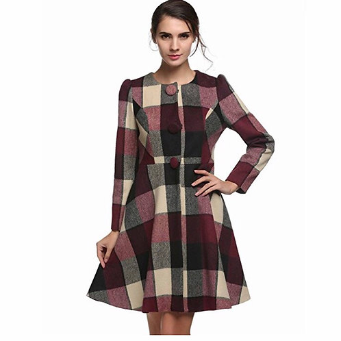 Winter Classic Jacket Mixed Colors Plaid Button Trenchcoat