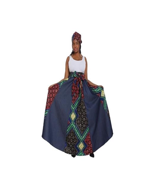 Denim African Print Maxi Skirt w/Headwrap