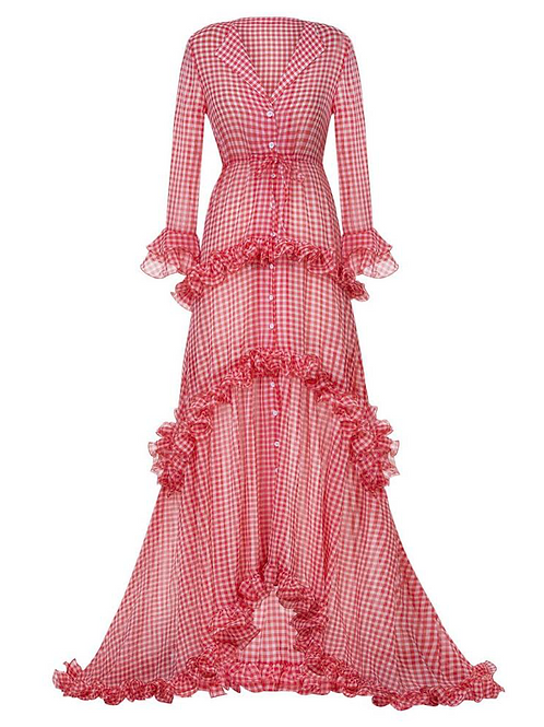 Gingham Ruffle Maxi Dress