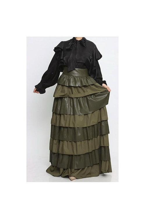 Ruffle Tier Faux Leather Maxi Skirt