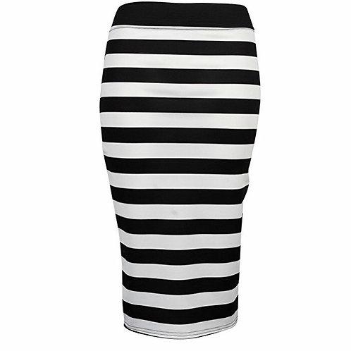 Black White Monochrome Ladies Pencil Bodycon Midi Skirt