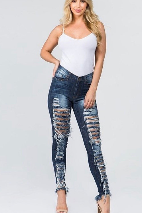 Distressed Skinny Frayed Jeans