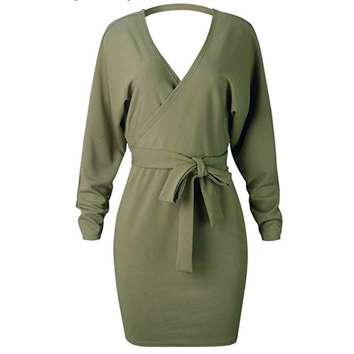 Batwing Long Sleeve Wrap Dress
