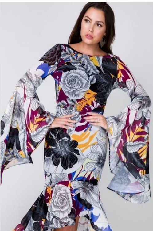 Floral Bell Sleeve Hi low Dress