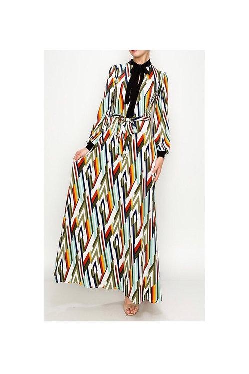 Printed NeckTie Maxi Dress