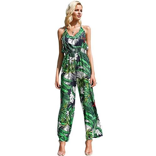 High Waist Floral Print Chiffon Jumpsuit
