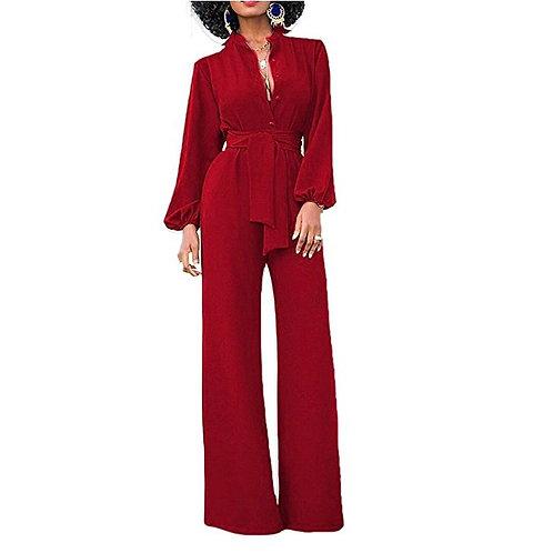 Elegant Long Sleeve Belted Jumpsuit