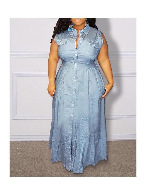 Sleeveless Denim Maxi Dress