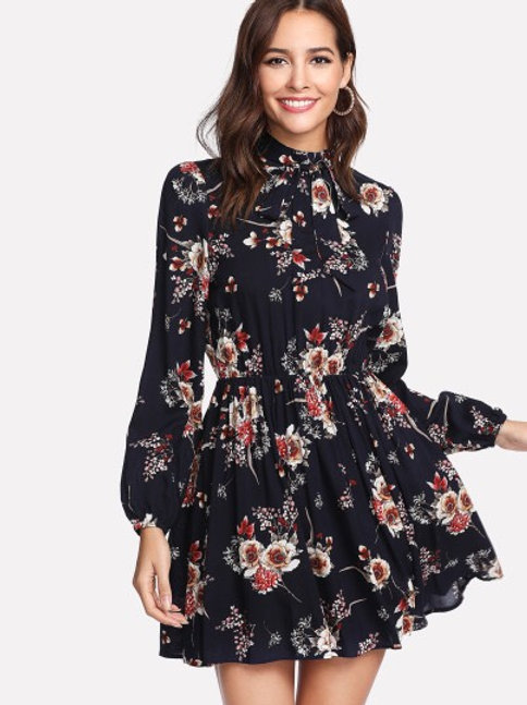 Neck Tie Flower Print Dress