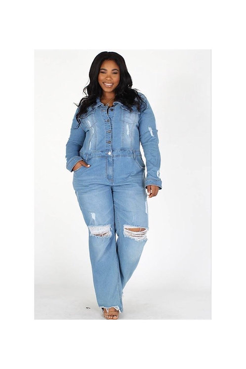 Plus Denim Ripped Jumpsuit