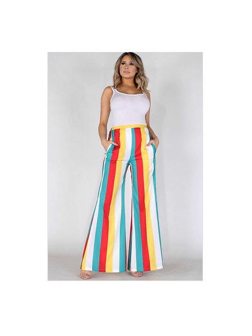 Multi Colored Stripe High Waist Pants