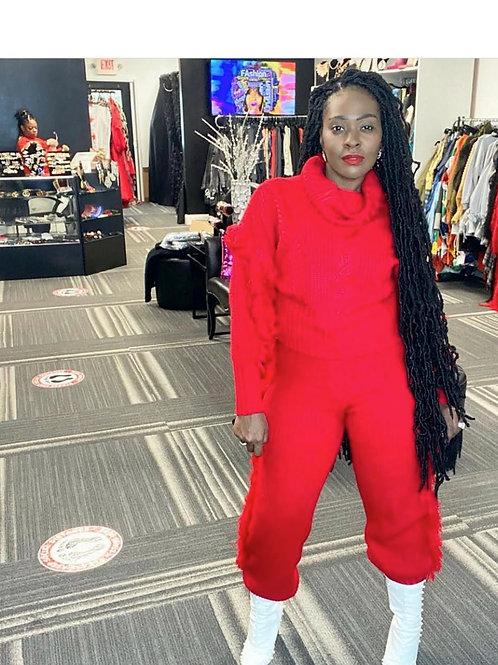 Fringe Sweater Pants Set