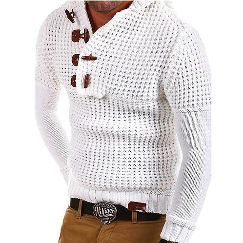 Breathable Mens Knitted Hooded Pullover