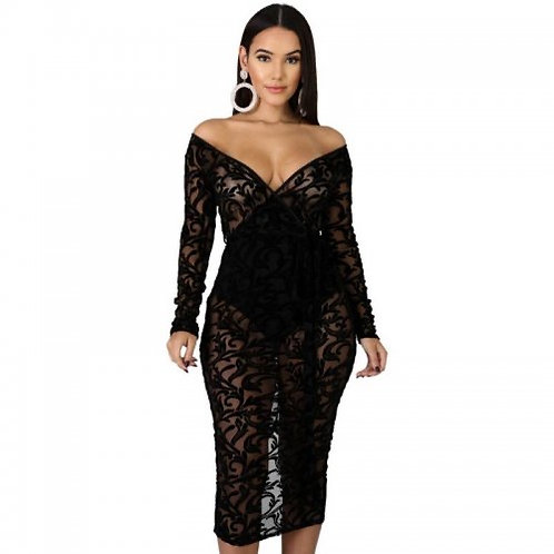 Off Shoulder Mesh Party Dress