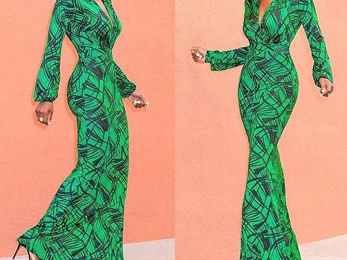 V Neck Geometric Print Maxi Dress