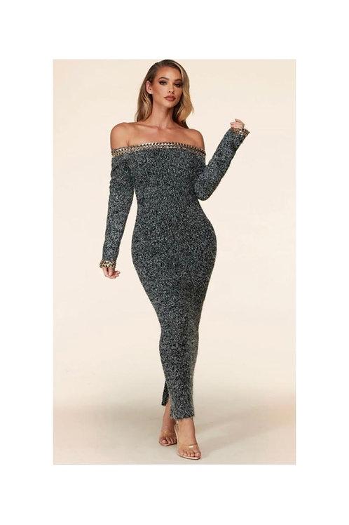 Off Shoulder Confetti Chain Dress